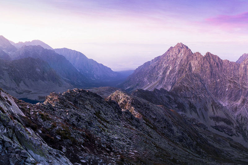 Beautiful mountain range with purple sky